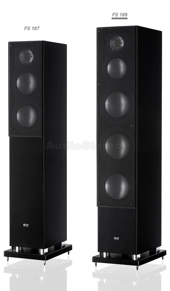 ELAC FS 187 & FS 189 satin black with metal grilles on