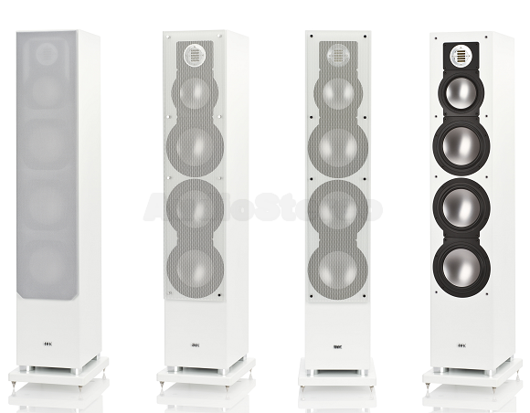 ELAC FS 189 satin white with metal grilles on